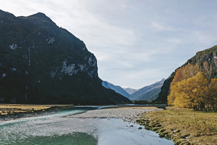 Mt Aspiring National Park New Zealand looking down the river