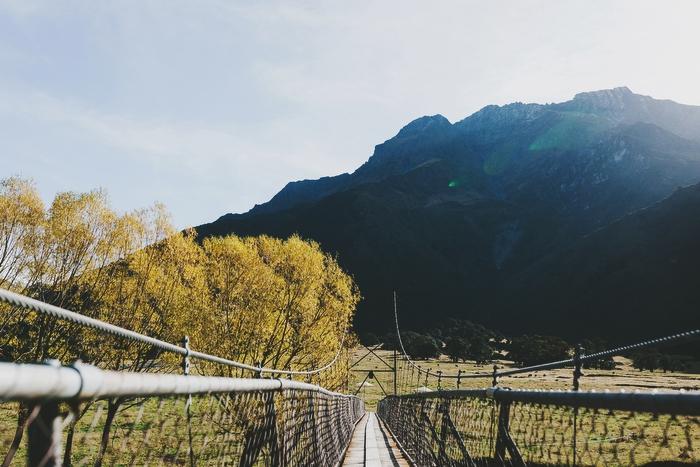Swing bridge at wedding ceremony Mt Aspiring National Park New Zealand