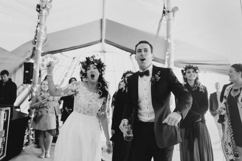 bride and groom get excited when music begins