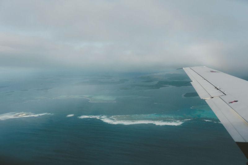 view out aeroplane window approaching vava'u
