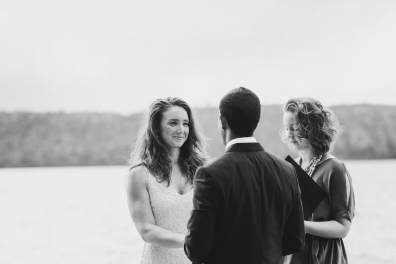 bride looking at groom in ceremony