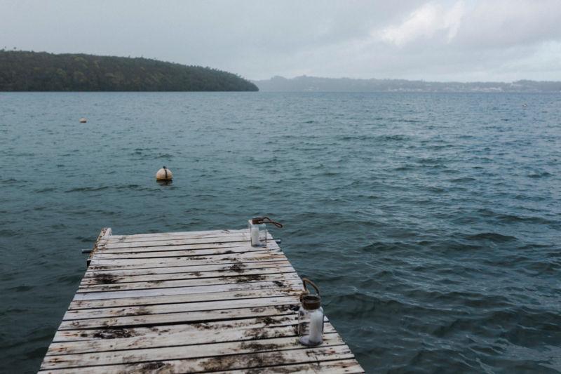 shot of wharf and ocean
