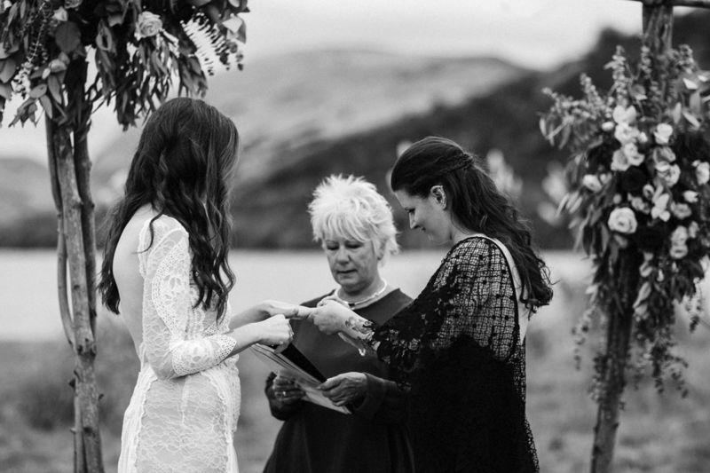 close up of brides in ceremony