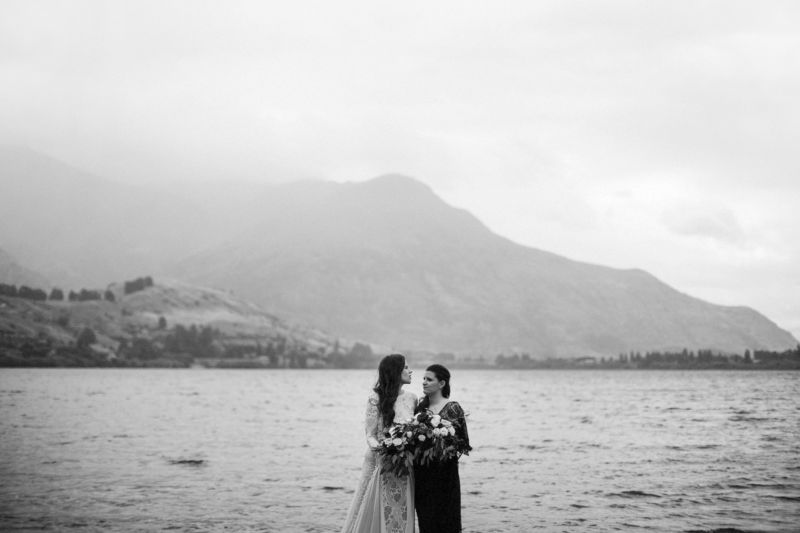 b&w portrait of brides and lake
