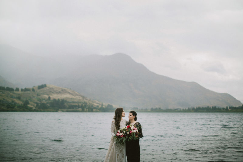 portrait of brides and lake