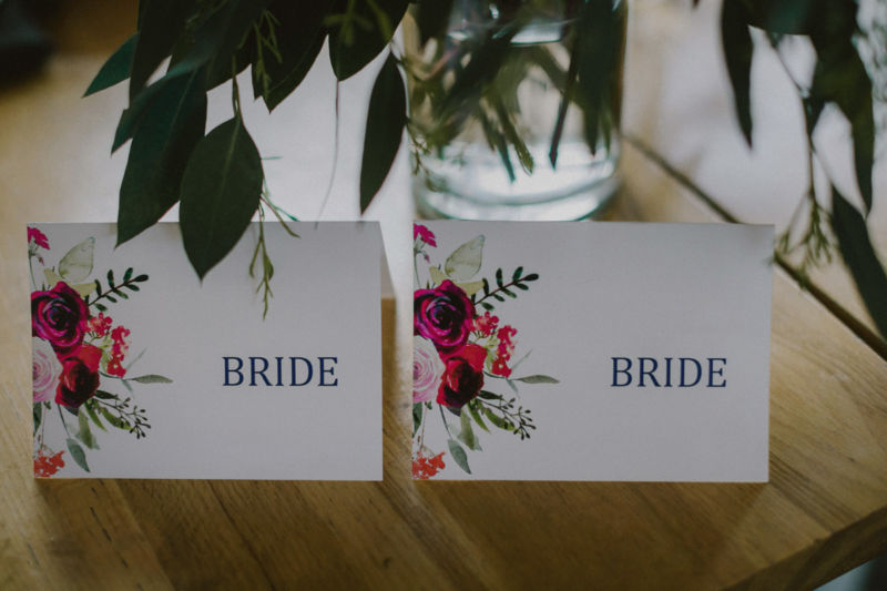place cards at reception for two brides