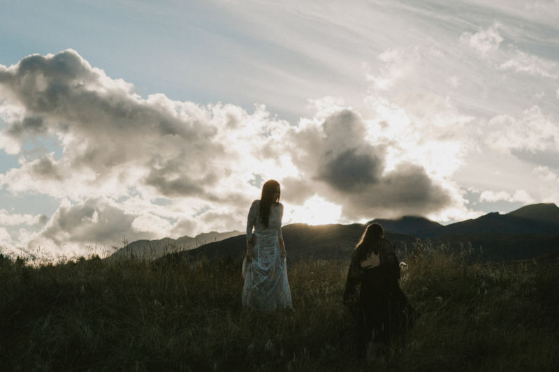 sunset with brides and mountain
