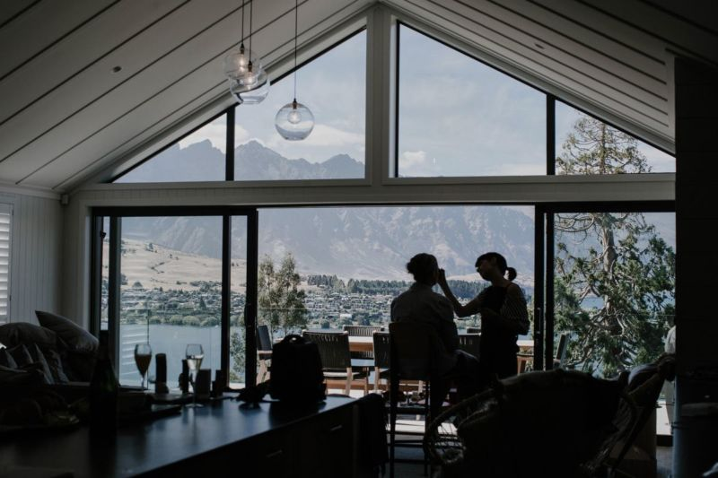 silhouette of make up preparations with mountain views