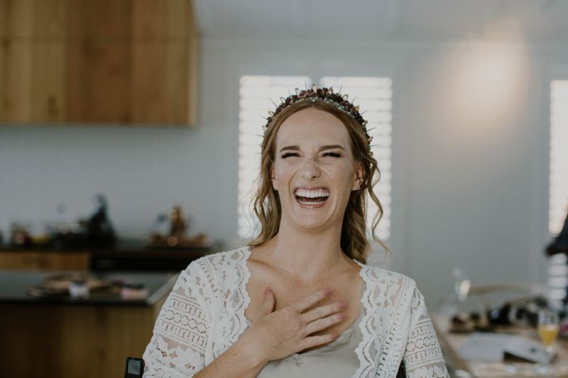 brides delighted face