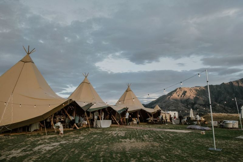 the tipi reception set up at NZ High Country Queenstown